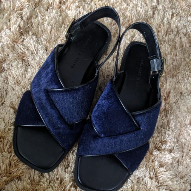 Charles & Keith Fur Slip Sandals size 35
