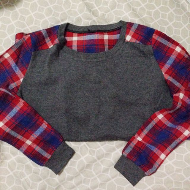 Checkered/Gray Cropped Longsleeves