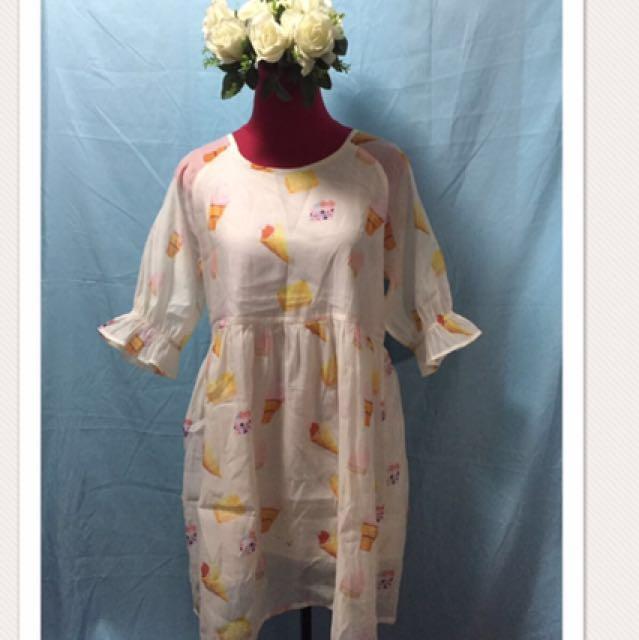 Cute Korean Dress with ice cream design
