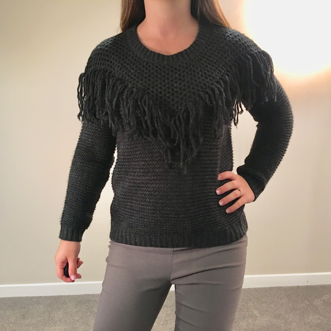 Dex Dark Grey Fringe Sweater Size Small (S)