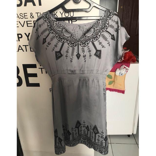 Dress silver bkk silk