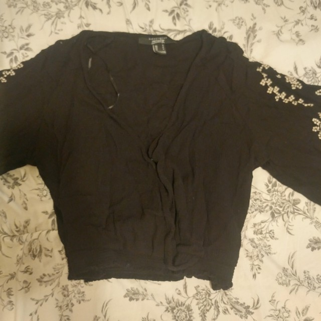Embroidered sleeve crop top, small.