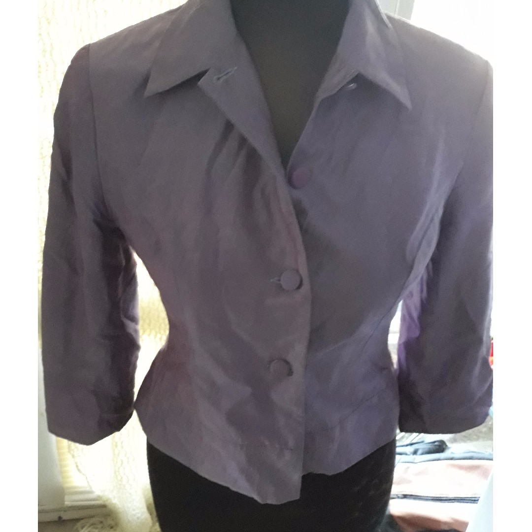 EVENTS Australia Hi-shine purple pearl short blazer
