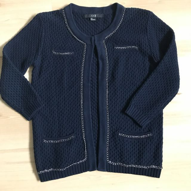 F21深藍針織外套