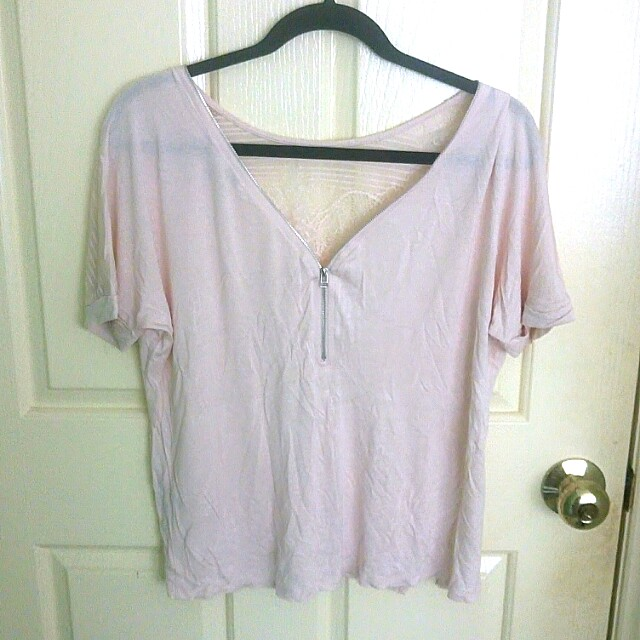Forever21 pink lace back top size XS