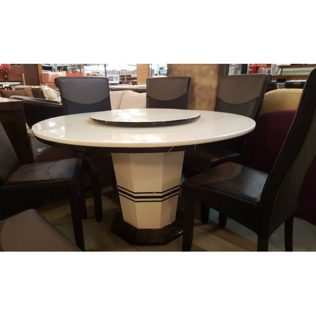 Full Marble Round Dining Table Set (with lazysusan), Furniture ...
