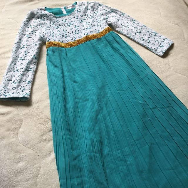 Girls abaya jubah lace dress in turquoise