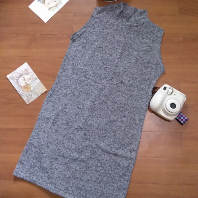 Gray High Neck Dress