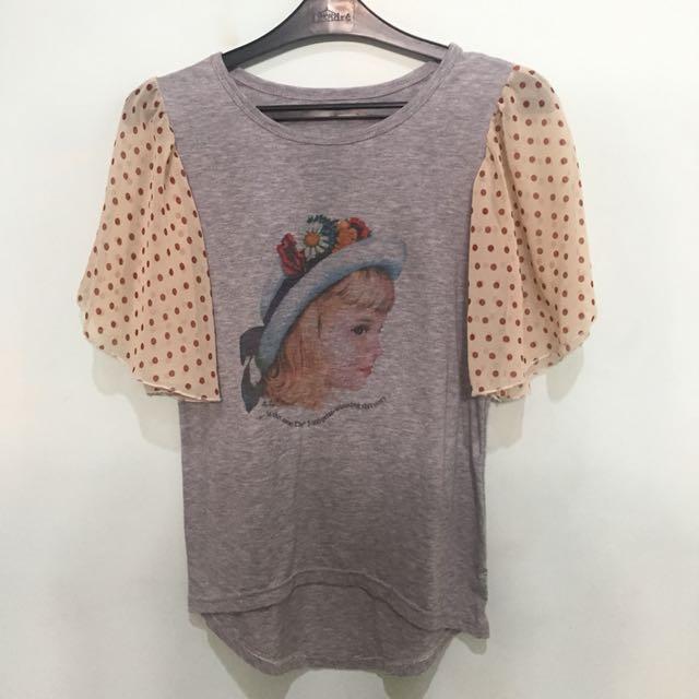 grey polka blouse