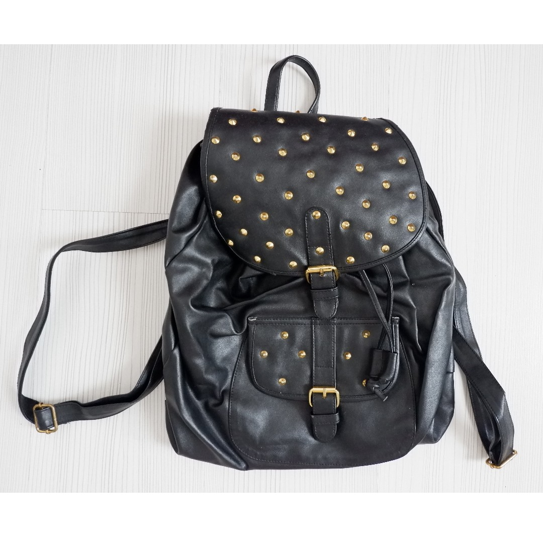 HDY BLACK studded leather bag