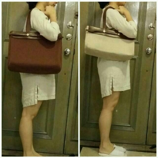 a96d13376764 Hermes herbag cabas tote 2 in 1 brown beige on Carousell