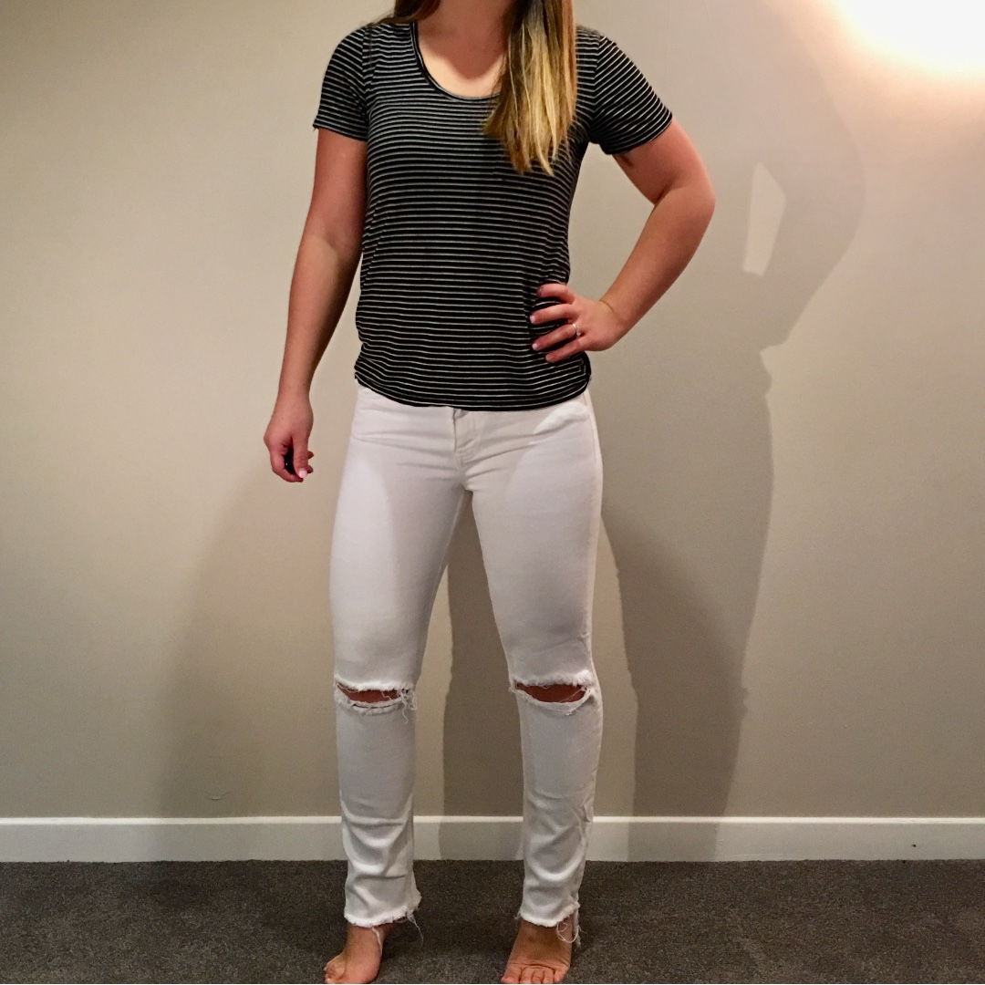H&M Ripped White Denim Jeans Size 26