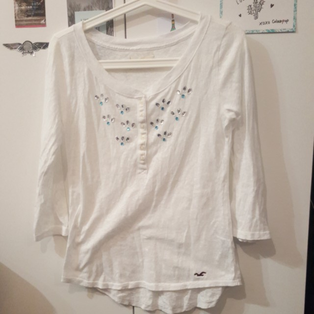 Hollister White Sheer Top Size XS