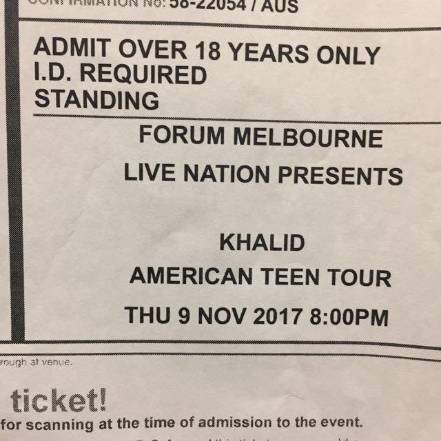 Khalid Melbourne tour 2017