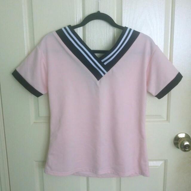 Korean pink stripe t shirt size M