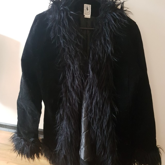 Ladies fur detail coat