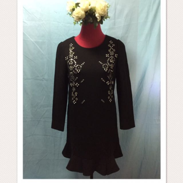 Little Black Dress with Embellished Stones