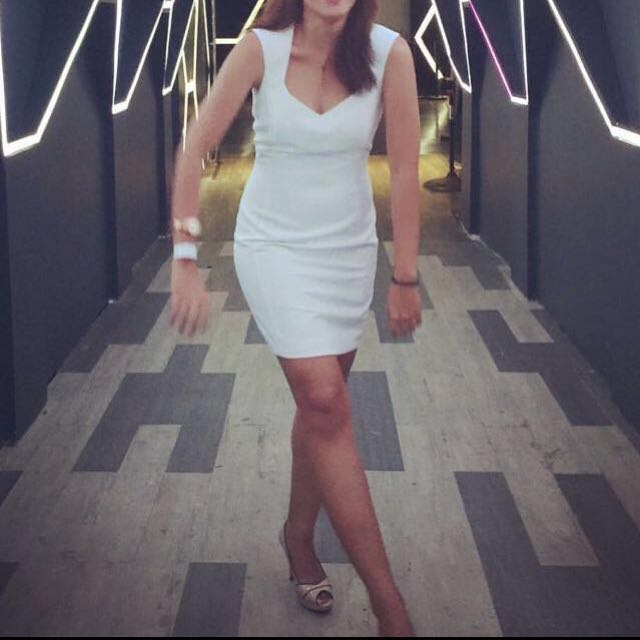 Mango white bodycon dress
