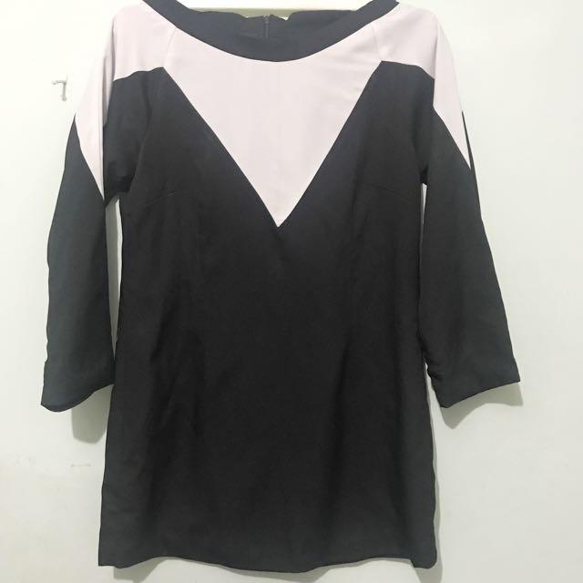 Midi Dress black white