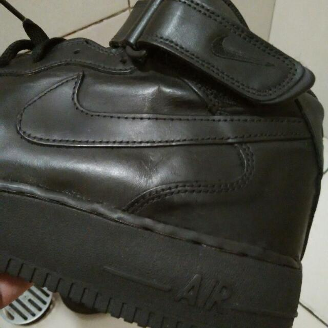 Nike Air Force 1 Full Black Leather High Top - Made In Indo Size 47