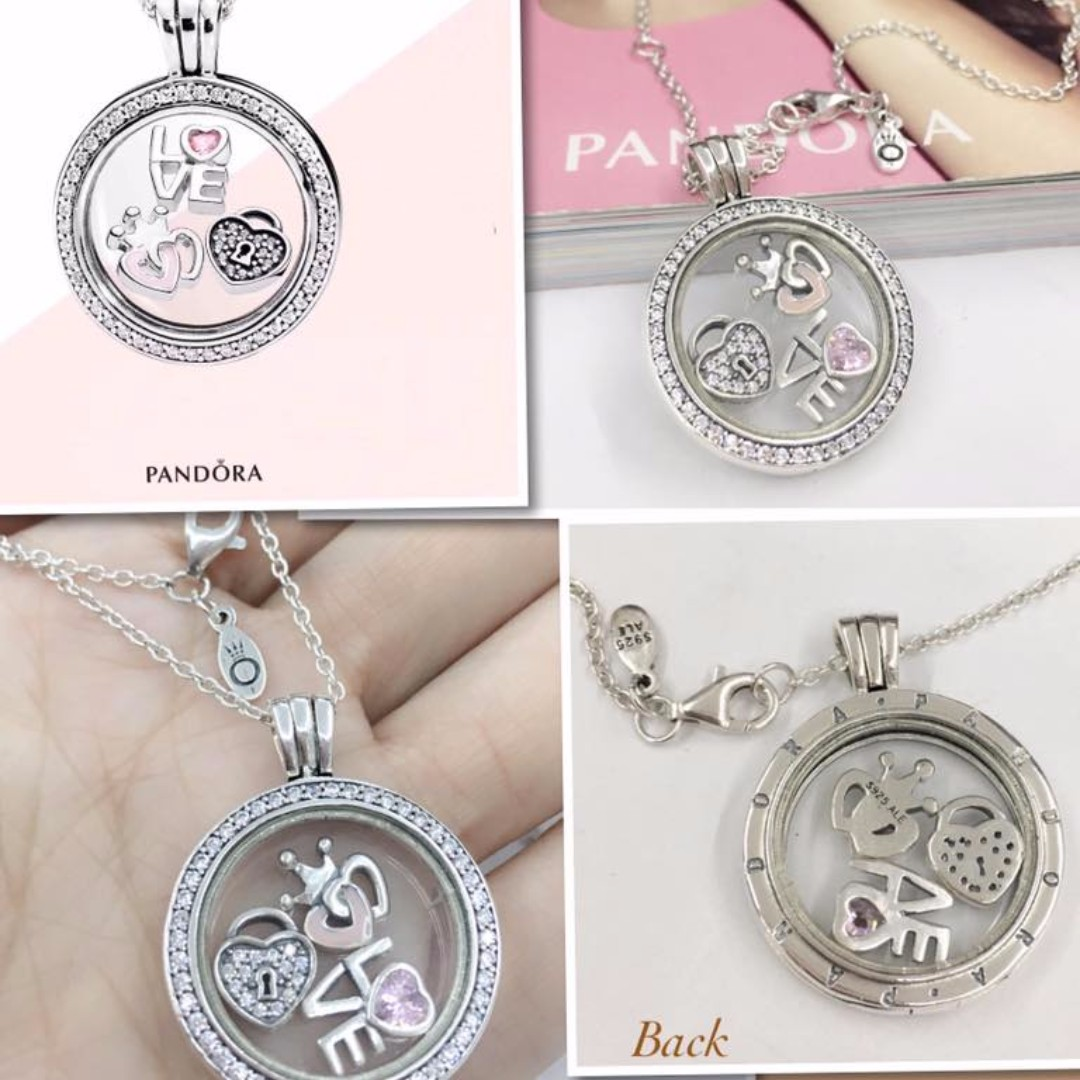 3f14f9413 ... cheapest pandora locket necklace w 3 charms preloved womens fashion  jewelry on carousell 53206 32694