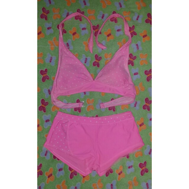 Pink two piece swimsuit