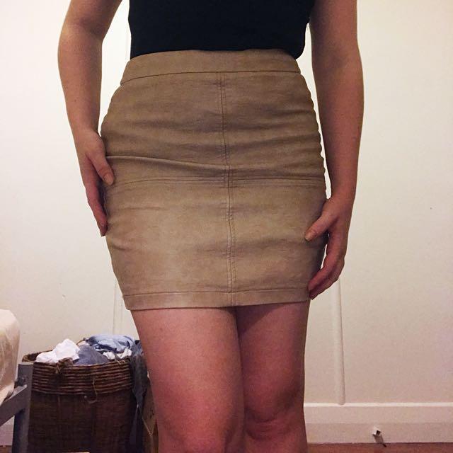 Pleather nude skirt