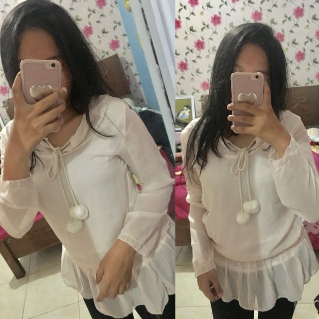 Pompom blouse preloved baju second bekas shirt