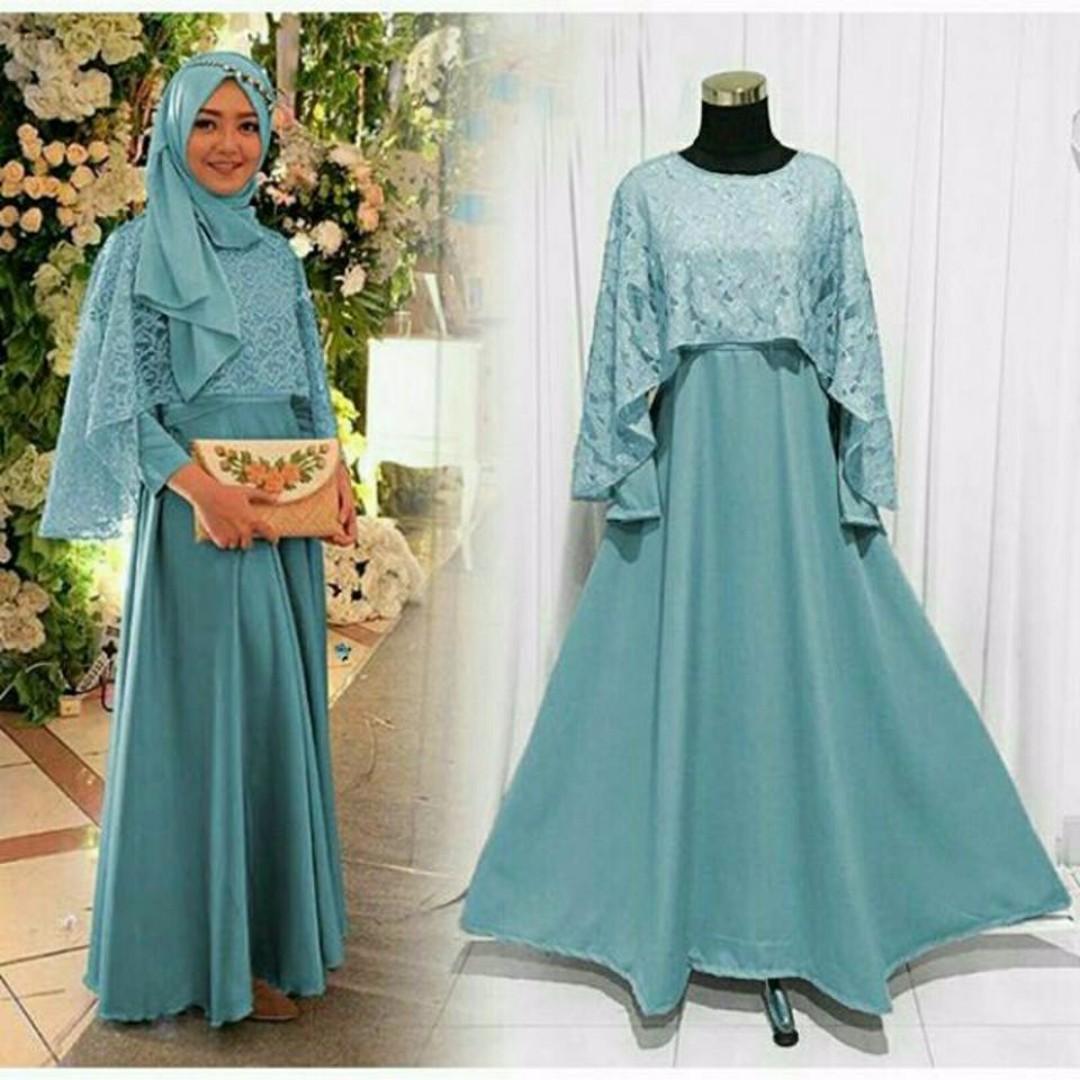5803dd33ad21 Pre order Muslimah long sleeve Karena maxi Dress pech brown blue ...