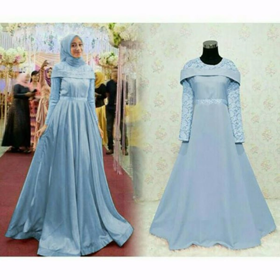 2b6269722a85 Pre order Sabrina long sleeve Muslimah maxi Dress peach navy green ...