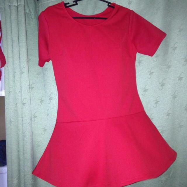 Red Long Peplum Top