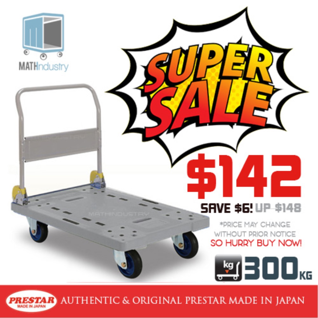 REDUCED PRICE! PRESTAR (Made in Japan) 300kg Trolley Plastic Base Heavy Duty HAND TRUCK