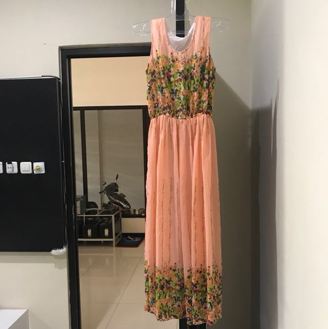 REPRICE Pink flowery maxi dress