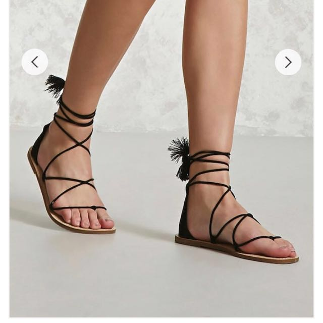 Forever Up 21 Carousell Repriced Lace On Tassel Sandals 2eEIDHYW9b