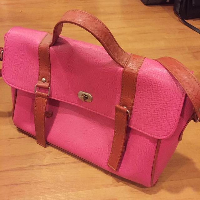 REPRICED Large Pink Messenger Bag