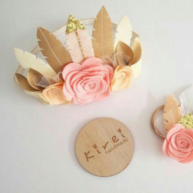 Shabby Chic Flowers and Feathers Headband