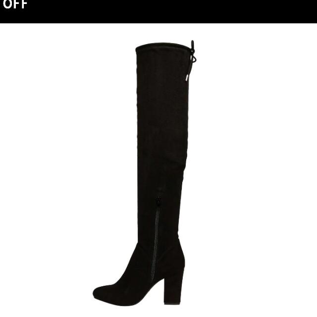 Size 9 Black Thigh High Heeled Boots