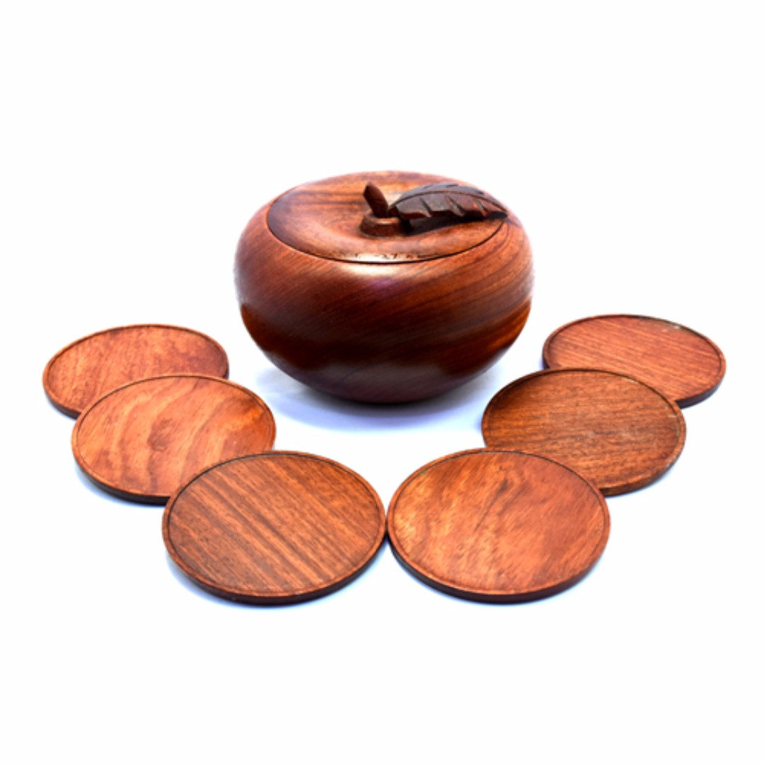 Small wooden coaster set with apple-shaped holder for hot