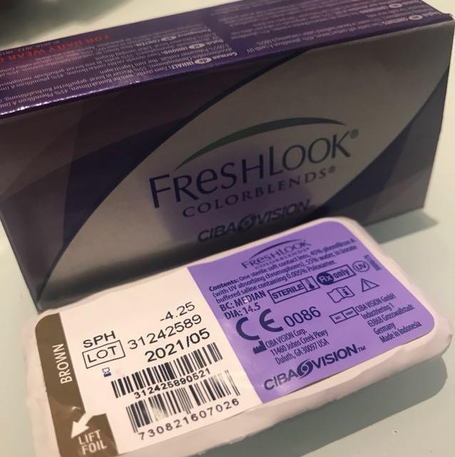 Softlens freshlook colorblends Brown -4.25