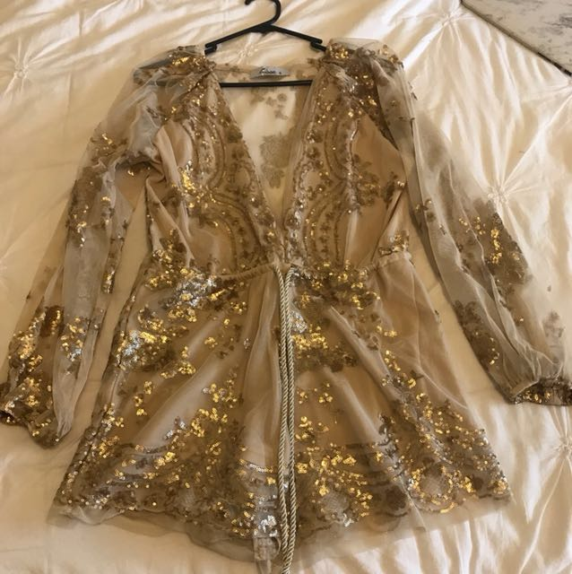Sparkly gold playsuit
