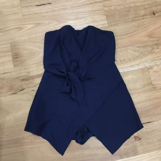 Strapless Navy Playsuit