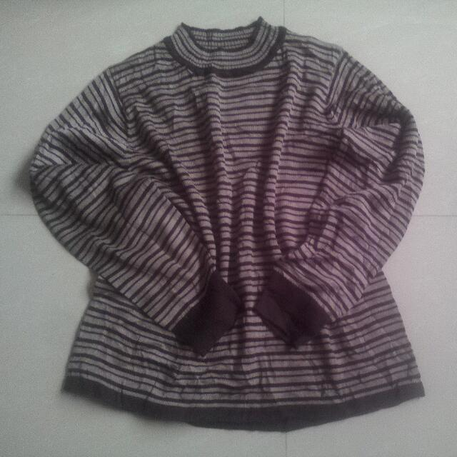 stripe dark brown sweater