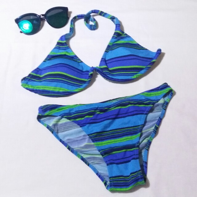 Striped Blue Bikini