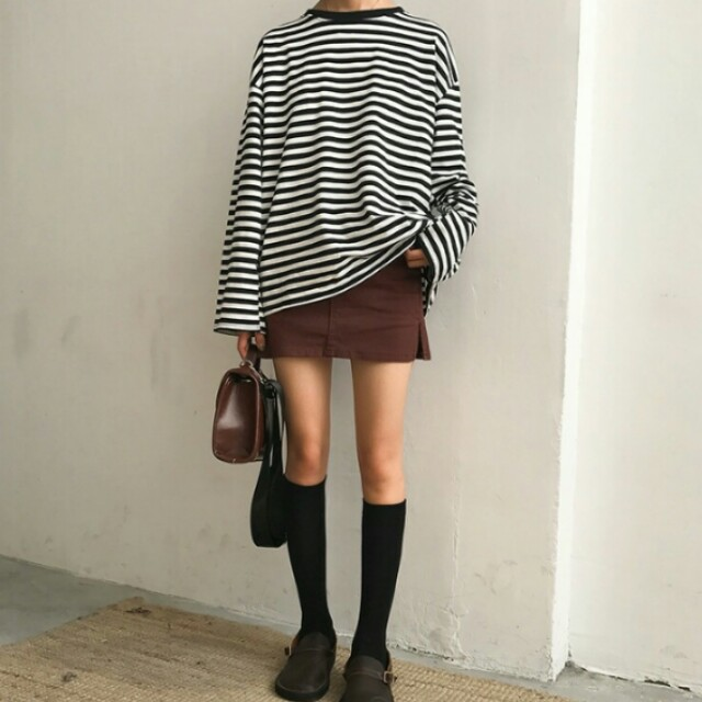 Striped Long Sleeve Oversized Shirt