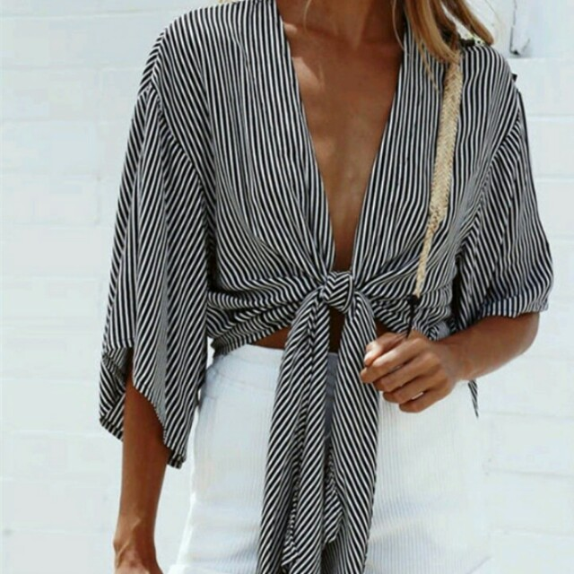 Striped Long Sleeve Tie Up Top