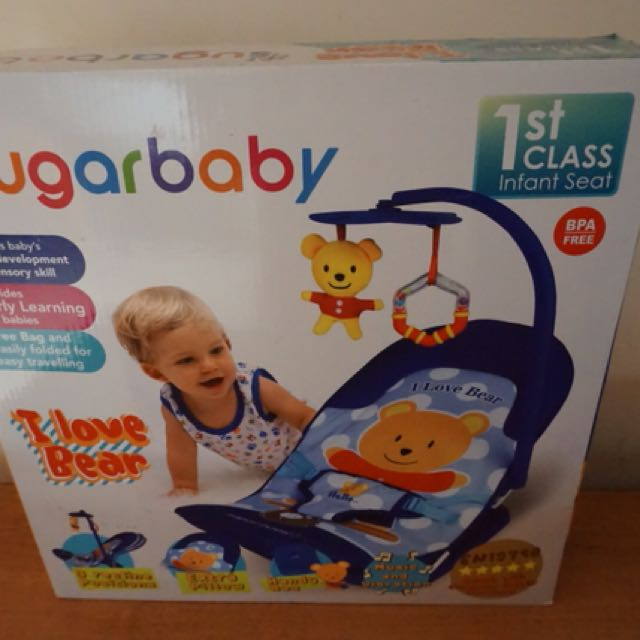 Sugarbaby Bouncer I Love Bear, Babies & Kids, Strollers, Bouncers & Carriers on Carousell