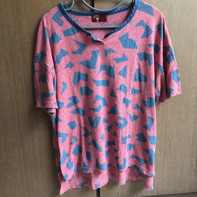 🇰🇷方塊紅底寬版短袖T恤 #雙十一女裝出清