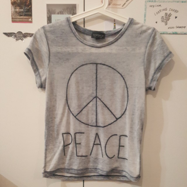 Topshop Grey T-shirt Size 8