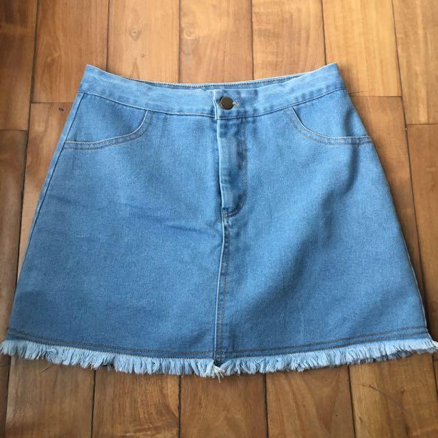 Twill Cavern Denim Skirt