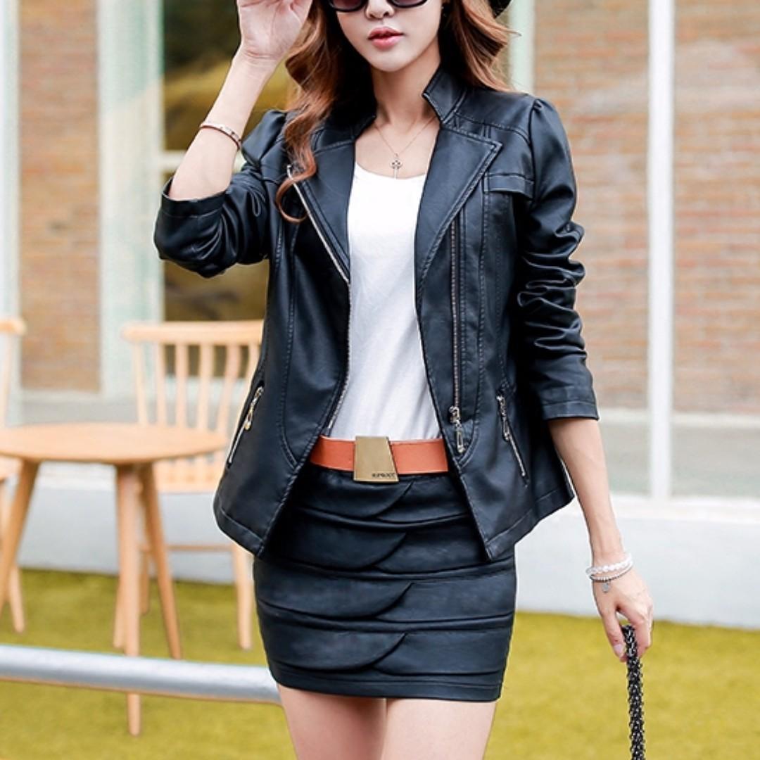 07c83ebd8 upright collar zipper PU leather jacket (plus size available)
